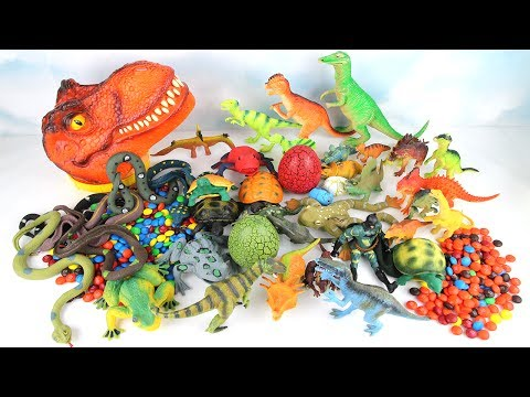 Thumbnail: T Rex Big Head Magic. Learn Dinosaurs with Eggs Animals M&M Superheroes Learning dinosaur Toys 공룡
