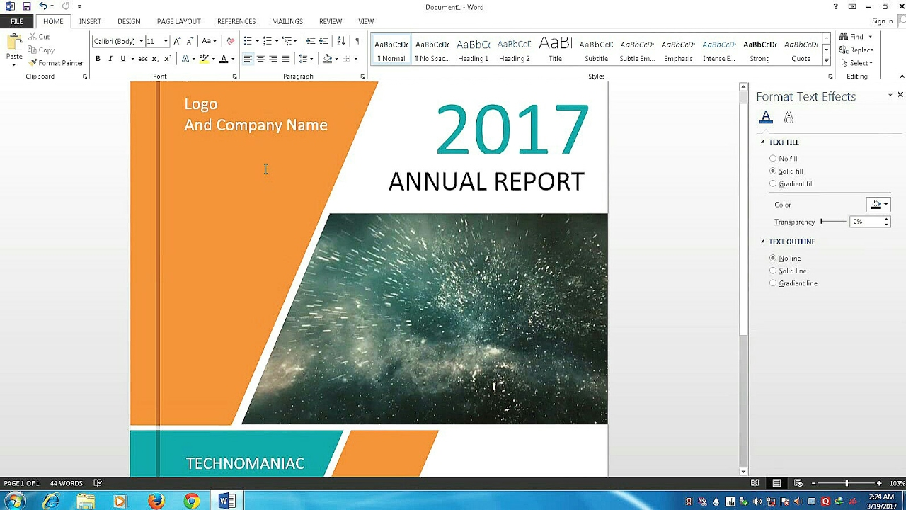 how to make a cover page design for report and book in microsoft