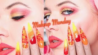 FIRE MAKEUP TUTORIAL | MATCHING NAILS | MAKEUP MONDAY | IdleGirl