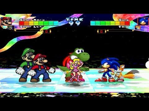 Nintendo vs SEGA (AK1 BLUE VS RED) 4v4 MUGEN Battle #1 Series!!!