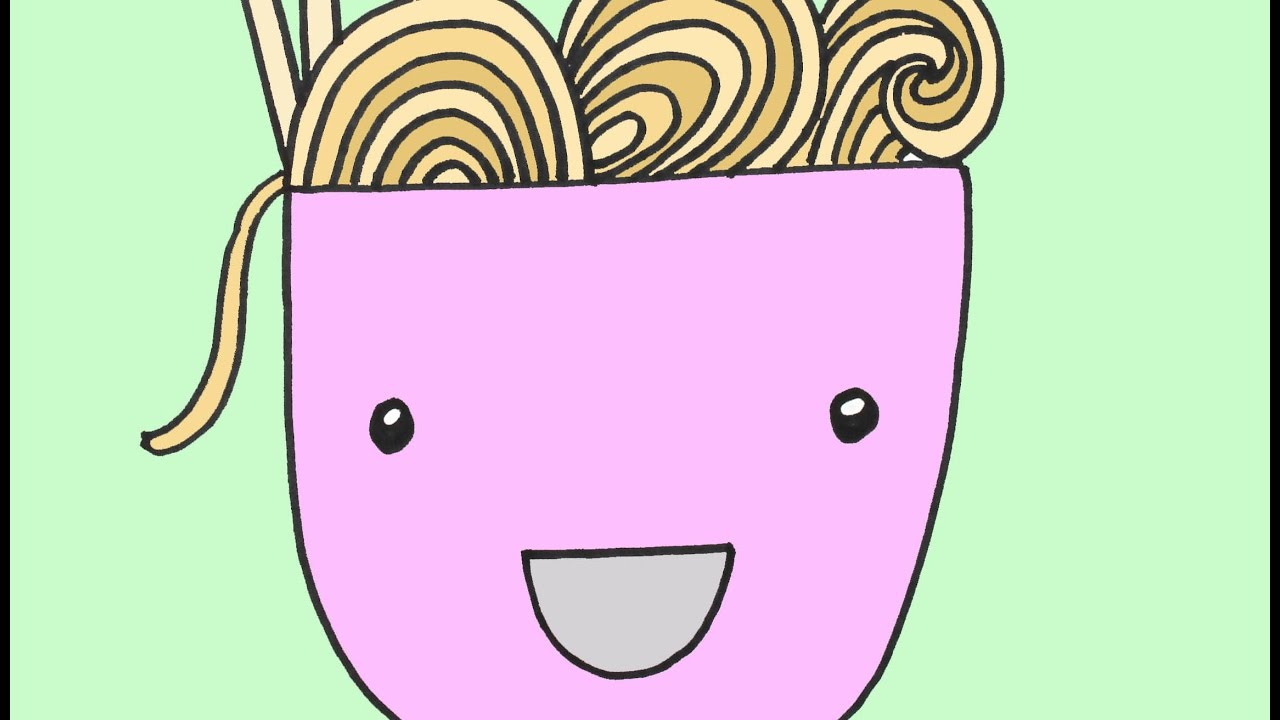 How To Draw A Bowl Of Noodles Step By Step Drawing Lesson For Kids
