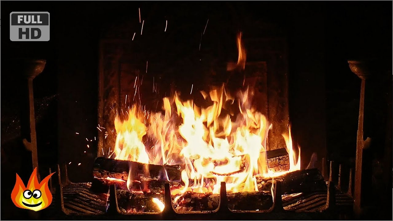 crackling fireplace with thunder rain and howling wind sounds hd
