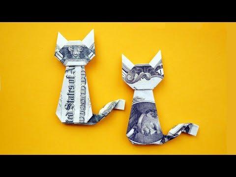EASY Money CAT   Origami Dollar Gift Idea   Animal Tutorial DIY