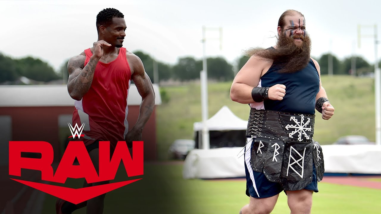 The Street Profits and The Viking Raiders battle in a Decathlon: Raw, June 8, 2020
