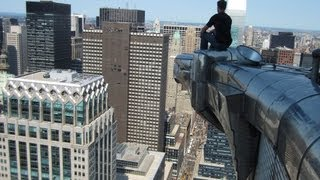 Crawling out onto iconic Eagles outside Chrysler Building - SUBSCRIBE @OpieRadio podcast
