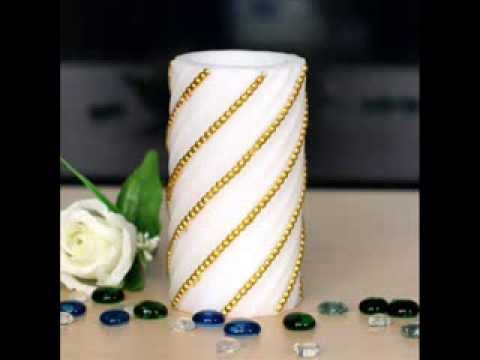 Flameless Real Wax Pilliar Led Candle With Timer, Embossed Gold Pearl; real wax led candles