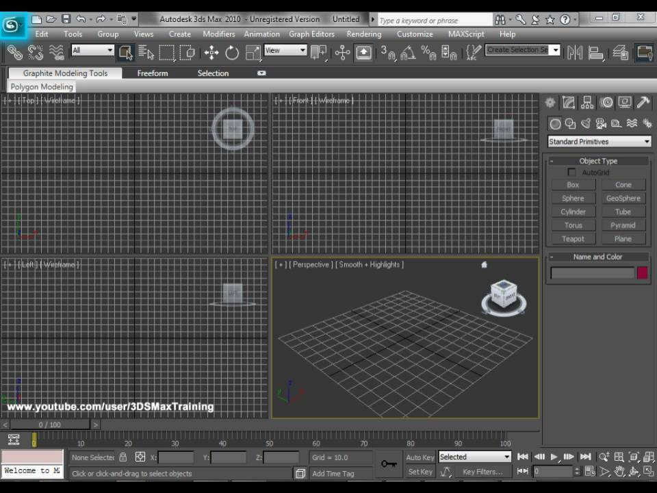 3ds max basic training lesson 1 3ds max 2010 interface for 3ds max course