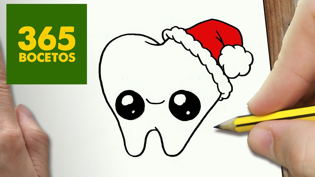 Como Dibujar Una Muela Para Navidad Paso A Paso Dibujos Kawaii Navideños How To Draw A Tooth