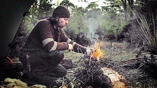 Bushcraft overnighter, camp setup, flint & steel, nying campfire, wood spirit and deer spotting.