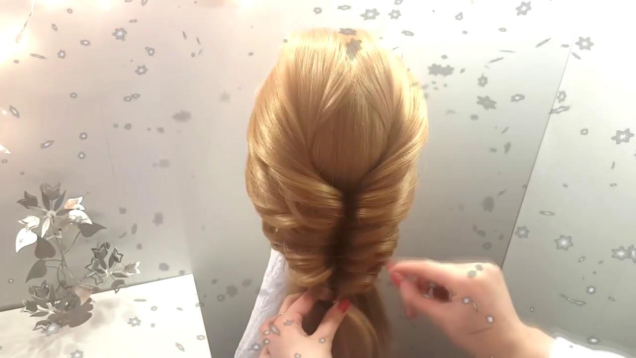 Прическа на новый год коса из резиночек на длинные средние волосы Прически вечерние