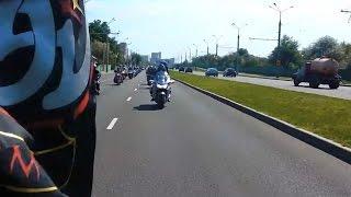Открытие мотосезона в Гомеле.  Проезд колонны мотоциклистов.