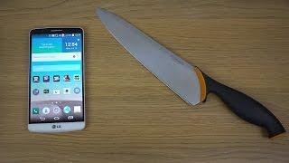 LG G3 - Knife Screen Test (4K)