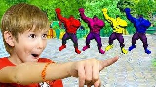 Песня про цвета от Тимы и Еси   Учим цвета с супергероями - Детская песня