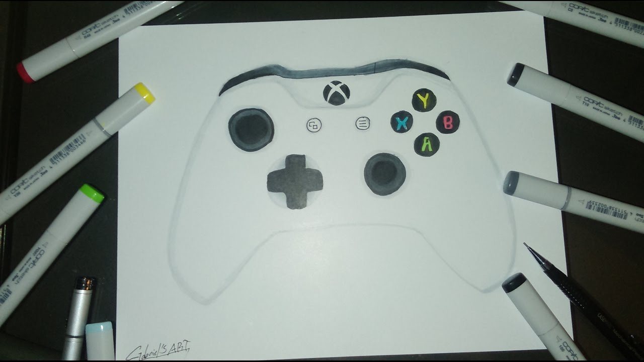 Scribble Drawing Xbox One : Xbox one s controller drawing youtube
