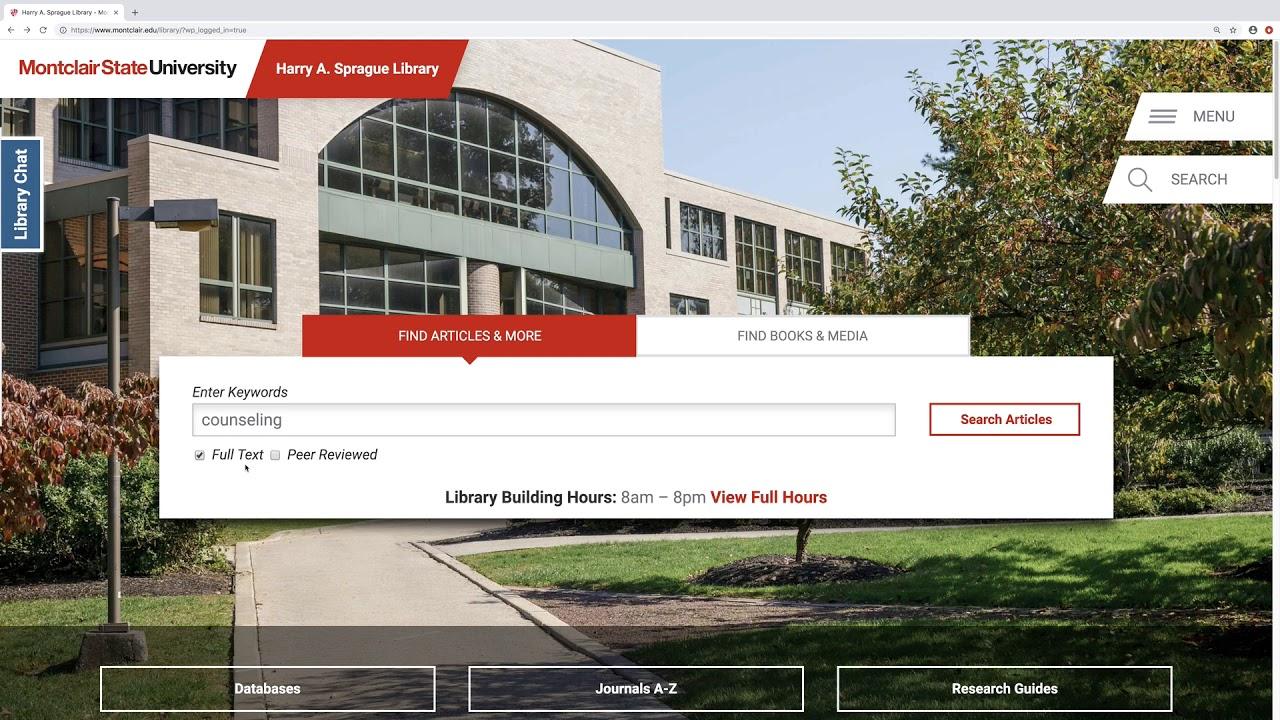 Montclair State University Calendar 2022.Home Library 101 Research Guides At Montclair State University