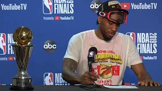 Kawhi Leonard Forgets His MVP Trophy at Press Conference | June 13, 2019 NBA Finals