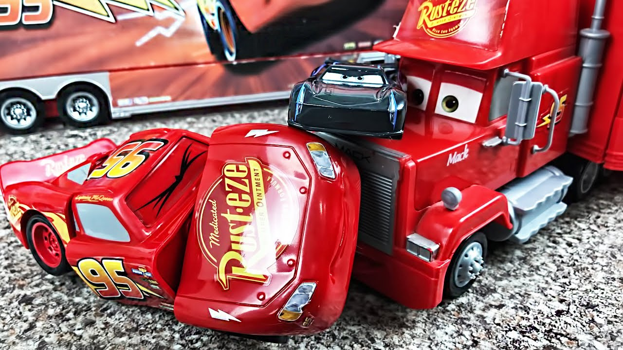 disney cars race reck lightning mcqueen mack truck disney pixar cars 3 cartoons videos