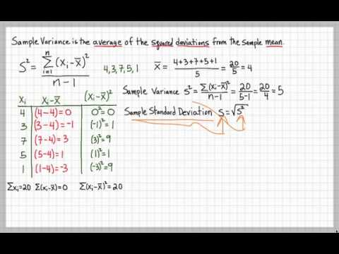 Sample Variance And Sample Standard Deviation  Youtube