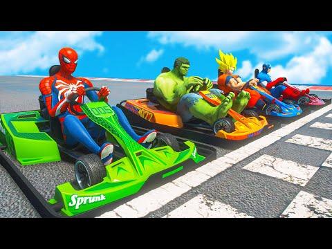 Superheroes Racing Challenge | Spiderman Go Kart Racing Competition #156 |