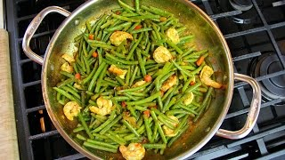 String Beans With Shrimp In A Rich Caribbean Curry.