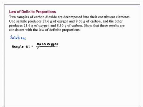 Law Of Definite Proportions Chemistry Youtube