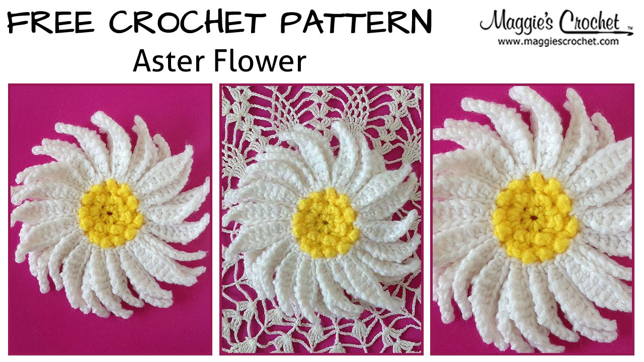 Aster Flower Free Crochet Pattern - Right Handed - YouTube