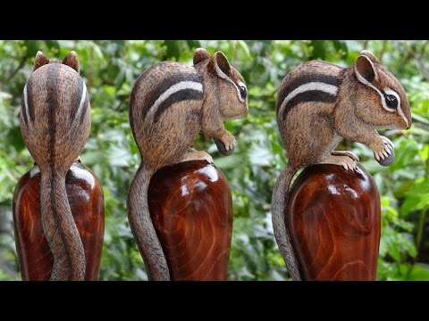 Wood Carved Chipmunk