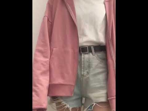 kirahosi 여자 대학생 컬러 오버핏 후드 집업 +덧신 증정 Hu04j7s