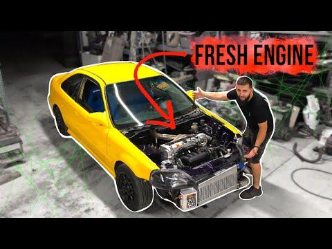 Pt.10| LAMBO KILLER BUILD | 600HP AWD TURBO HONDA CIVIC | SWAPPING IN A FRESH ENGINE!