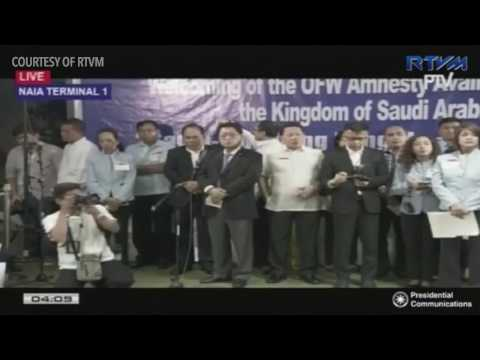 Duterte arrives from the Middle East