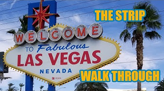 Las Vegas Strip from Las Vegas Sign to Stratosphere [Walk Through 4k] - Las Vegas Nevada