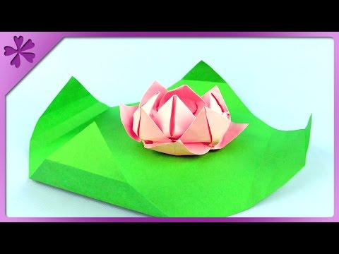 DIY Origami paper water lily (ENG Subtitles) - Speed up #207