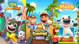 Talking Tom Gold Run vs My Talking Hank - Subway Surfers Gameplay 2017