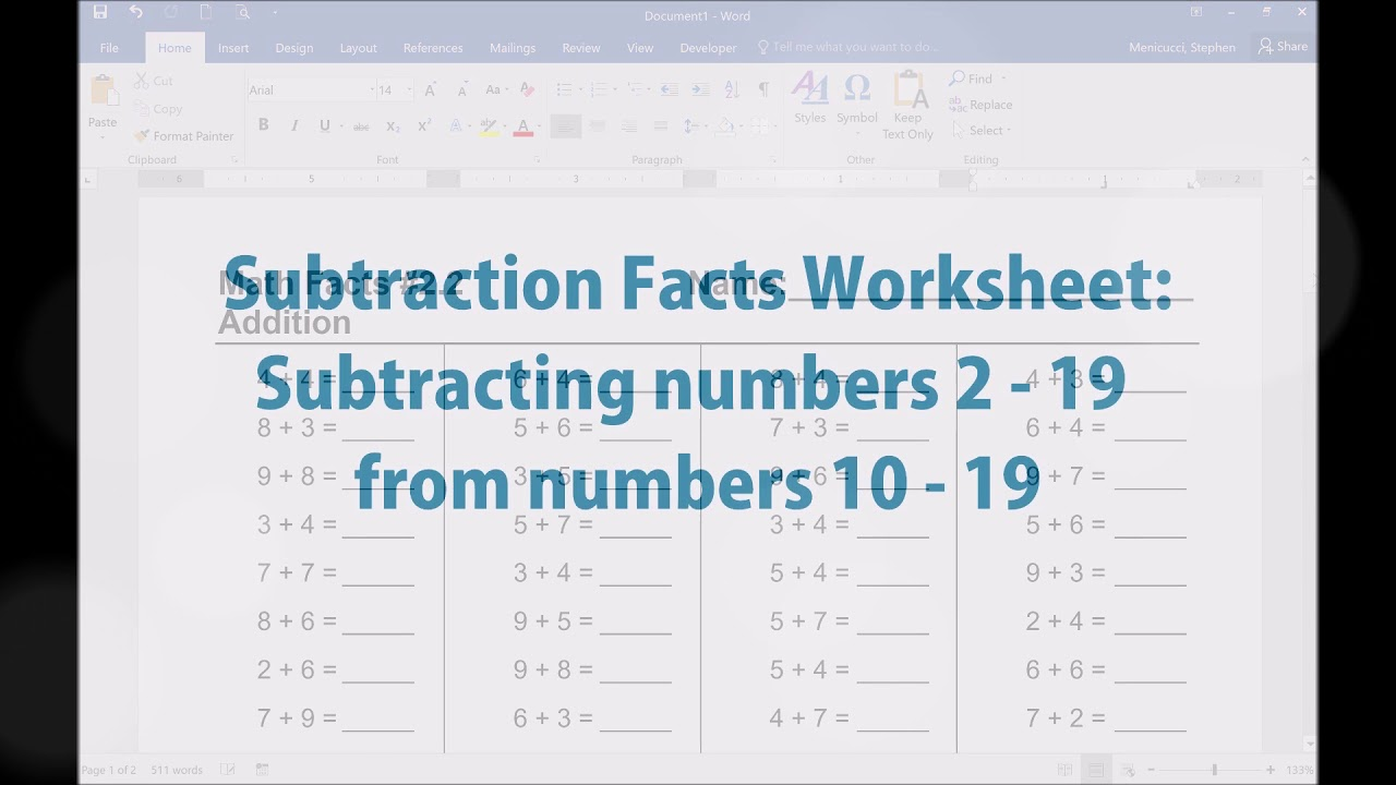 Math Facts Worksheet Generator - Addition and Subtraction Worksheets ...