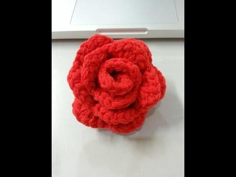 สาธิตการถักดอกกุหลาบ (how to crochet a rose)