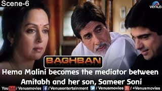 Hema  Malini becomes the mediator between Amitabh and her son, Sameer Soni (Baghban)
