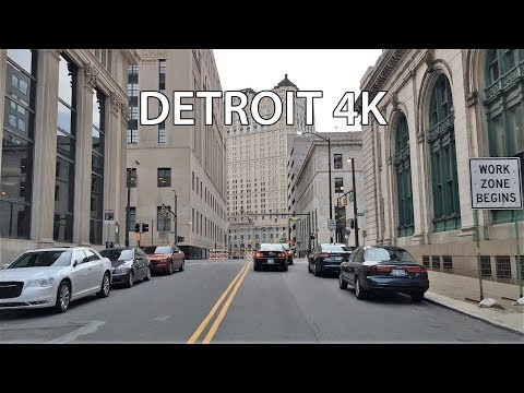 Driving Downtown - Detroit 4K - USA