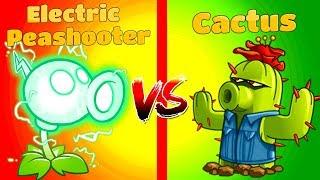 Plants vs Zombies 2 Mod Plant vs Plant Compare ELECTRIC PEASHOOTER vs CACTUS PVZ 2 Game Primal