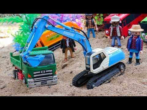 Zombie Playmobil Worker Construction With  Excavator Wheel Loader Dump Truck Construction Vehicles
