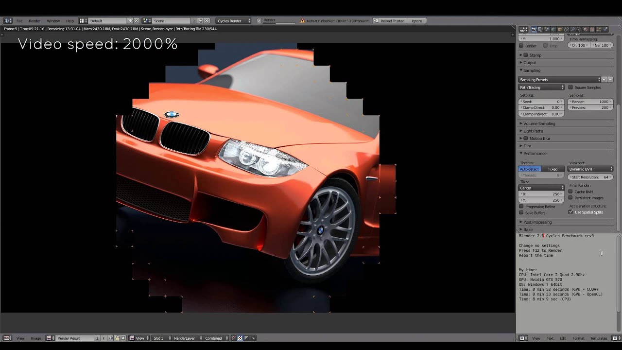 Blender benchmark on 16 GPUs and 8k resolution