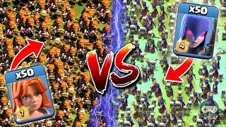 50 Valkyrie vs 50 Witch Clash of Clans | Witch vs Valkyrie | Valkyrie vs Witch | Valk vs Witch