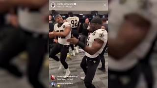 New Orleans Saints celebrate in locker room after win over Panthers