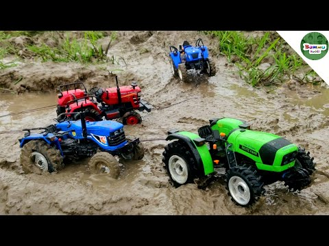 All Powerful Mahindra 575, New Holland, ACE, Deutz Fahr Tractors Helping Farmer | Kids Tractor Video