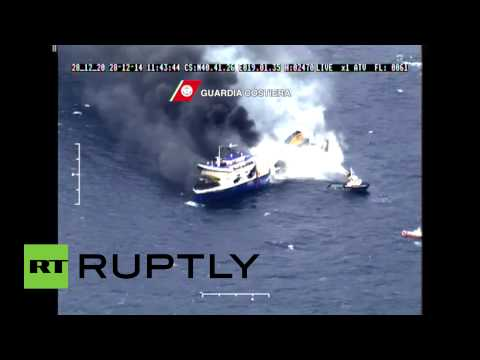 Huge plumes of black smoke billow from burning Norman Atlantic ferry