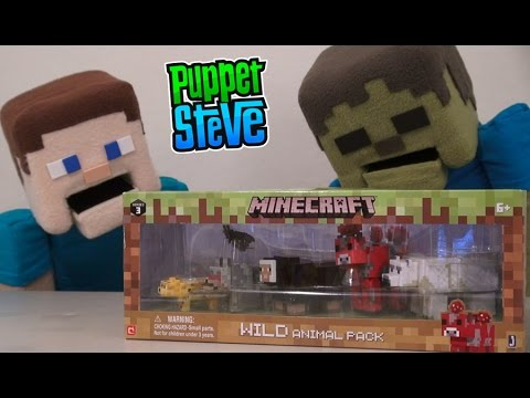 Minecraft Wild Animal Pack Action Figure Jazwares Set Unboxing - Puppet Steve