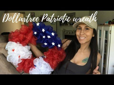 $10 DollarTree Patriotic Wreath Tutorial