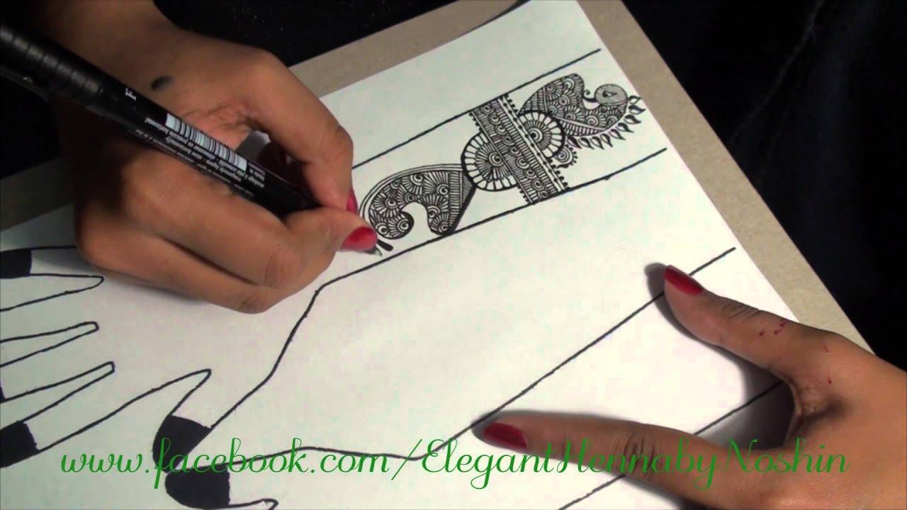 Mehndi Henna Pen : Henna mehndi design on paper by elegant youtube
