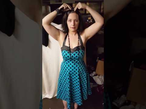 c9d5dc814 Dresstells® Halter 50s Rockabilly Polka Dots Audrey Dress Retro Cocktail  Dress REVIEW - YouTube