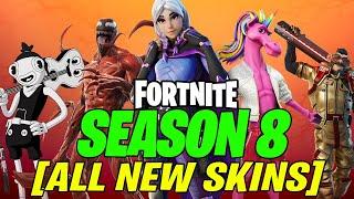 Fortnite Season 8 - ALL BATTLE PASS SKINS & FREE REWARDS