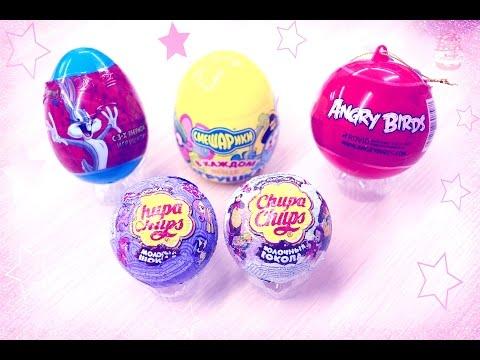 Игрушки в яйце Маша и Медведь, Смешарики  Surprise eggs  Angry Birds, My Little Pony